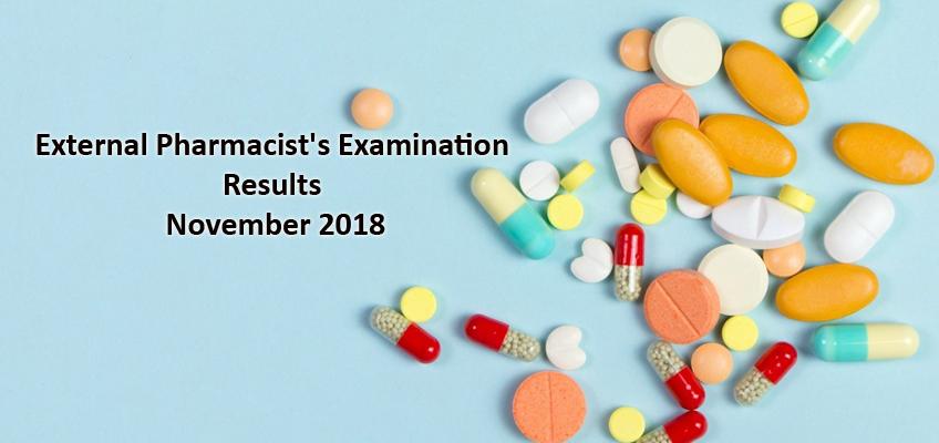 Results - External Pharmacist's Examination - November 2018